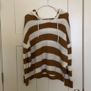 Brown and white hooded sweater